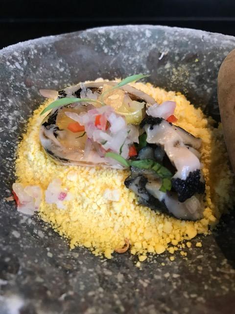 Lapas Cebiche - Chullpi corn, lapas, avocado, aji Amarillo leche de tigreThis dish was steaming from the liquid nitrogen corn--yummy and fun to eat!