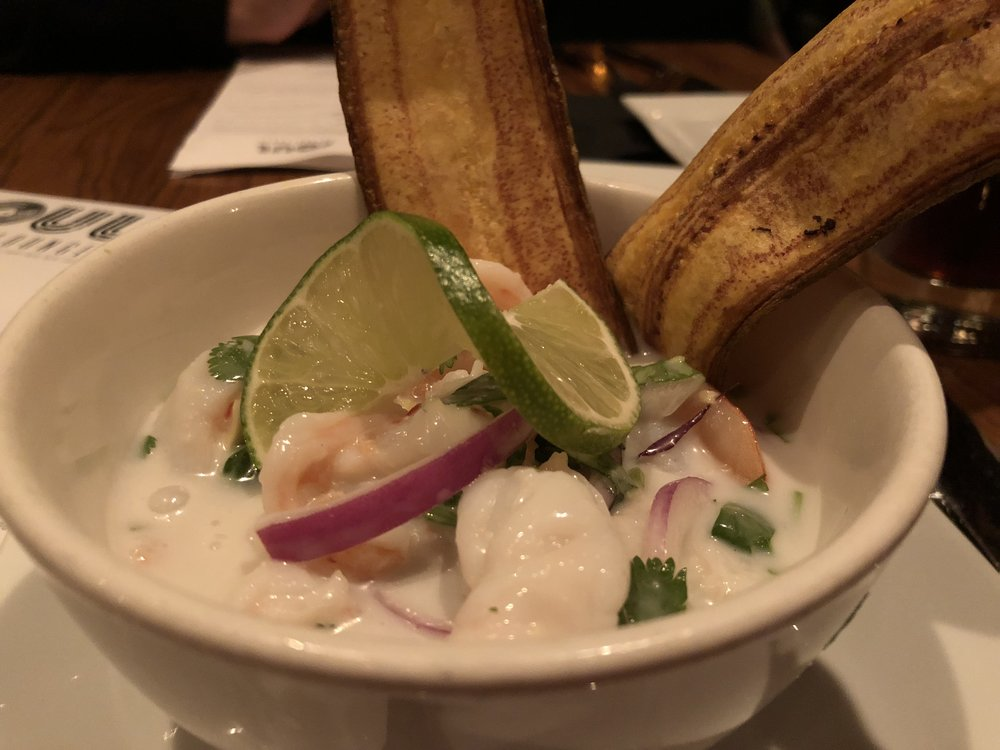 Shrimp ceviche - In coconut milk and lime, with plantain chips