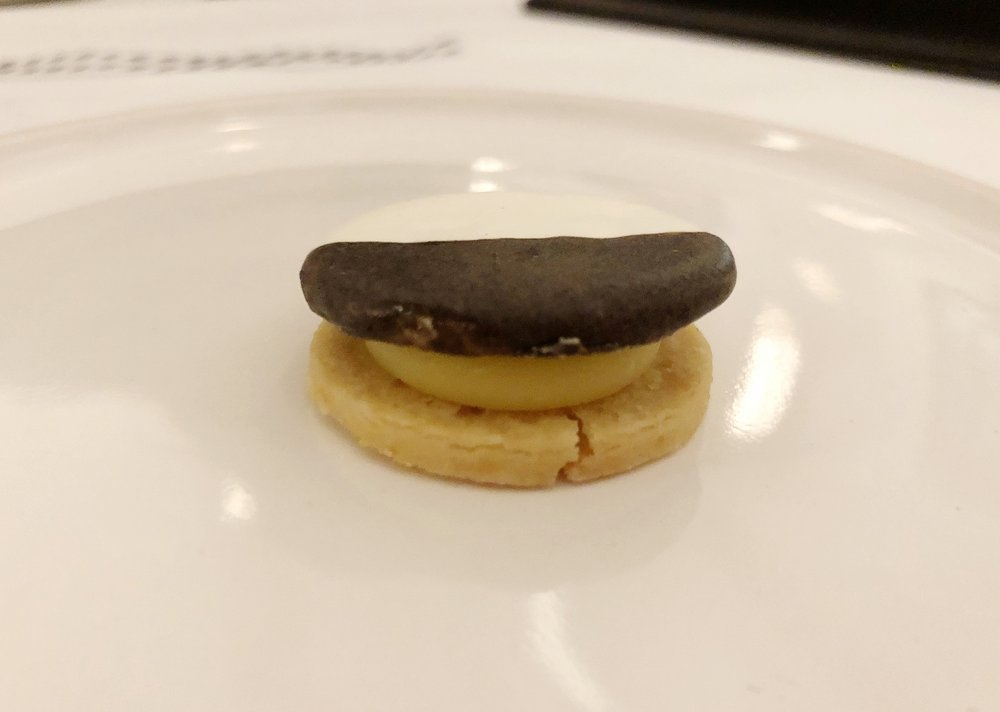 Black & White - Cookie with Cheddar & AppleWhen you arrive at the table you are presented with a box. What's in the box? This black and white cookie--a savory nod to the famous NYC staple. It's a great first bite to start the meal.
