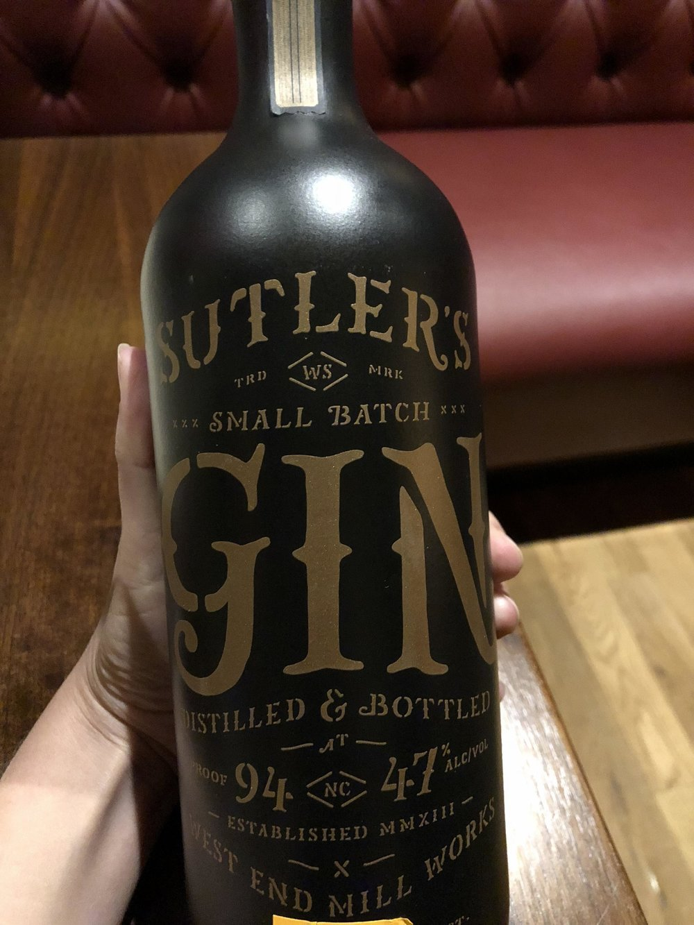 Local gin  - Used in the above cocktail--local & made in small batches. And check out that bottle!