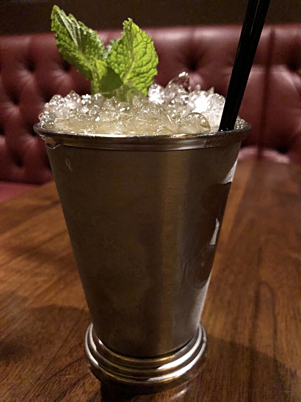 Mint Julep - Maker's Mark bourbon, simple syrup, mint, served over crushed ice