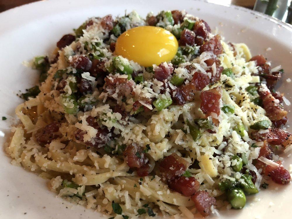 Pasta Carbonara - fresh pasta, egg yolk, pancetta, grilled asparagus, parmesan, black pepper
