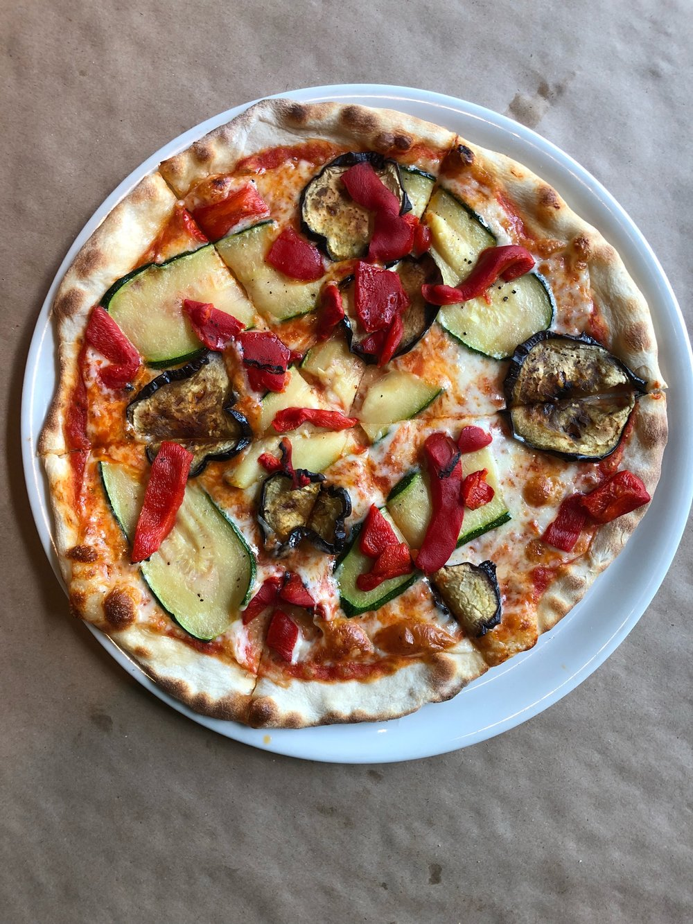 Ortolana - tomato sauce, whole milk mozzarela, roasted red peppers, eggplant, zuucchini