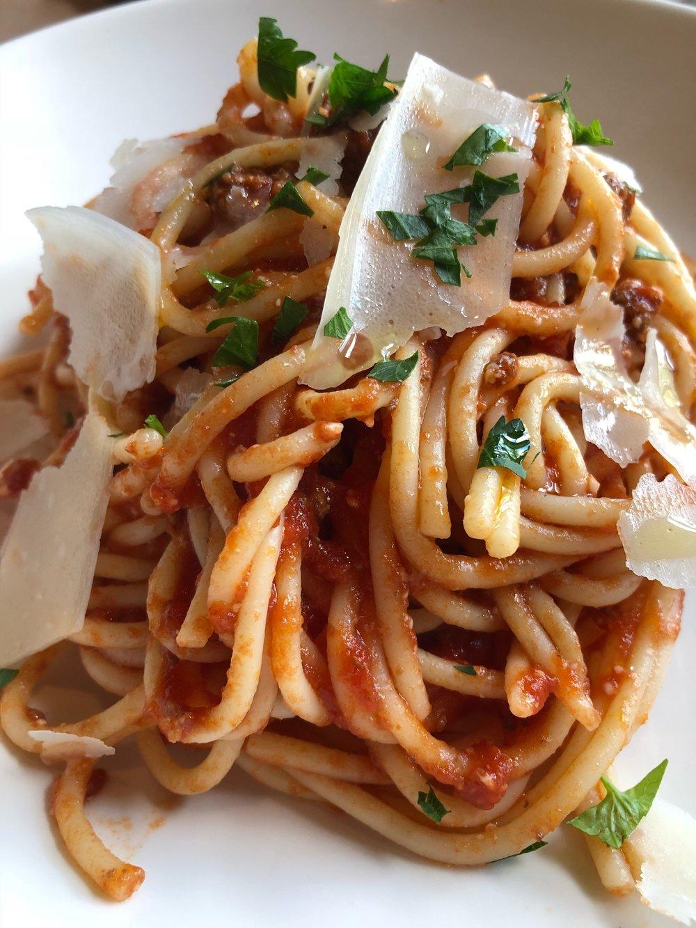 Bolognese - with spaghetti (sub for rigatoni)