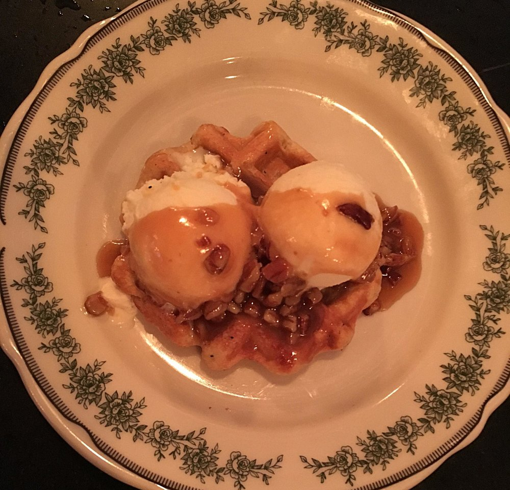 Waffle - pearl sugar waffle, house buttermilk ice cream, pecan caramel