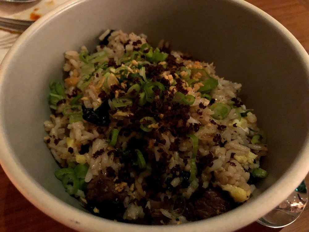Steak Fried Rice - wagyu skirt, crispy garlic, cured tuna heartWe saw this dish on the Fried Rice episode of Ugly Delicious, and we knew we had to try it. The Wagyu beef was amazing, but the rest of the dish we thought could have had a little more flavor.