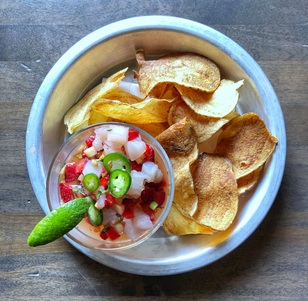 Barrel Ceviche  - citrus marinade, fresh strawberry apple salsa, house made chips