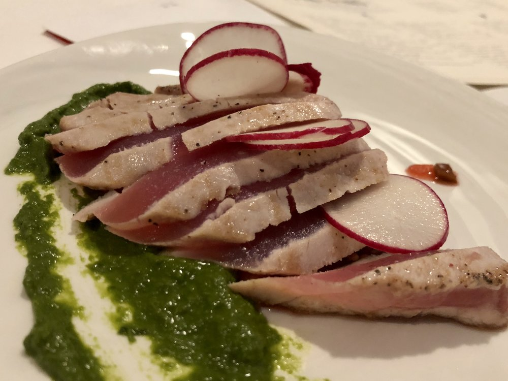 Grilled Tuna - ramp chimichurri, radish, jalapeno-strawberry relish