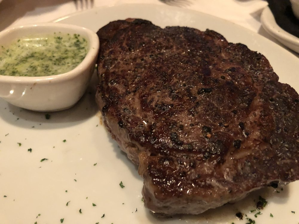 PRIME DRY-AGED RIBEYE - Our waiter, Gene, said this was his absolute favorite steak on the menu, and he didn't leave us astray. The meat melted in our mouths!
