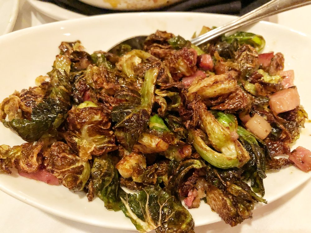 CRISPY BRUSSELS SPROUTS & BACON - I love having crispy brussels with a steak, and these hit the spot!