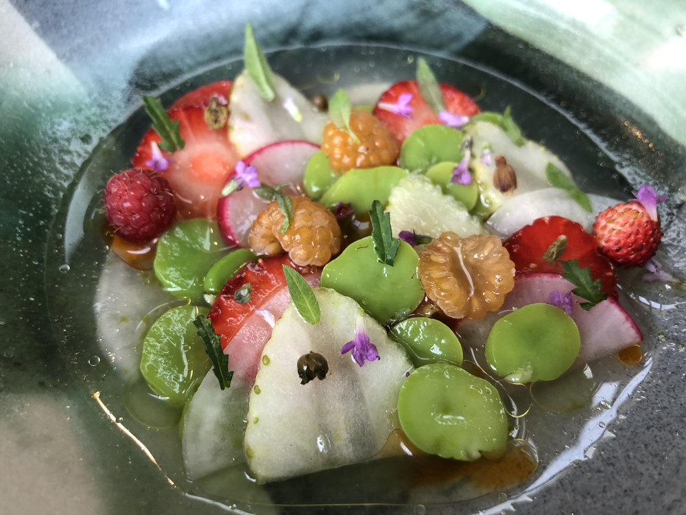 berries and fava beans - This was described as a ripe fruit ceviche which contained raspberries, red and green strawberries, flowers, fava beans, and radishes. It was bathing in a white currant broth. Light, refreshing, and slightly spicy.
