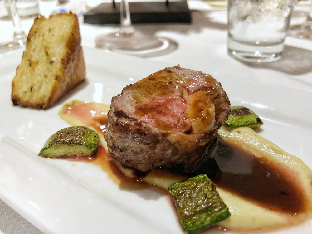 Lamb Loin - eggplant puree, rosemary potato cake, zucchini, mint gelThe lamb was tender and flavorful, and the potato cake cured any lingering carb needs that remained after all that pasta!