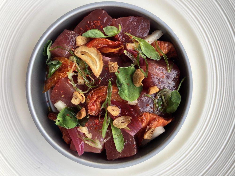 Tuna Escabeche - Tomato, pickled onion, & smoked soy