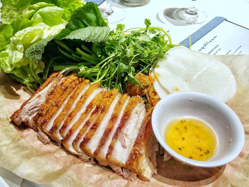 Pork Belly Ssam - Roasted pork belly, pickled daikon, kimchi, Thai chili salt