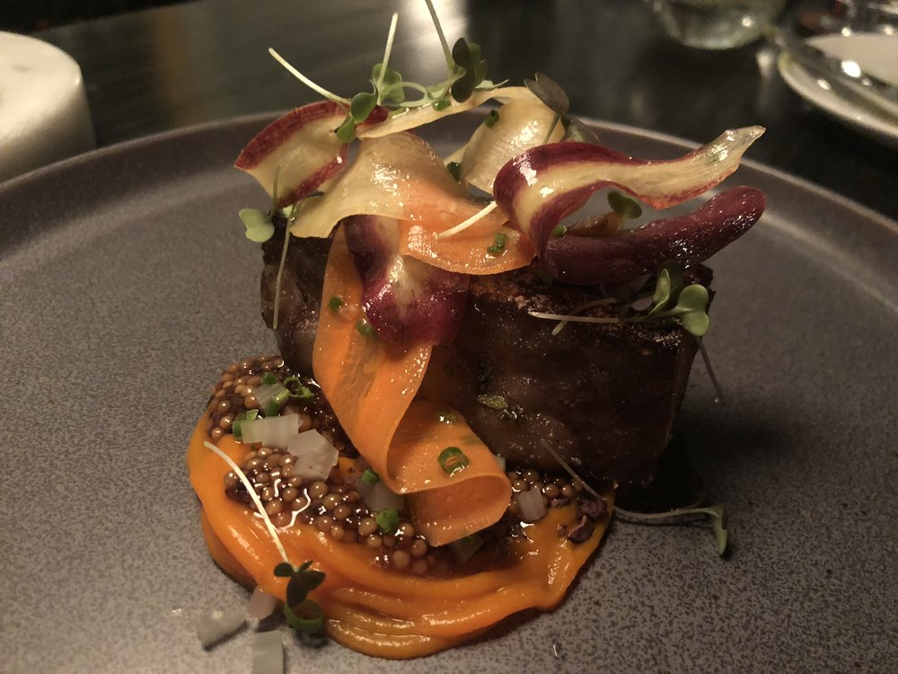 Lamb Belly - carrot, mustard, cocoa nib, rhubarbWe've only seen lamb belly at one other place around town, and that was at Global Restaurant in Pineville. In Scallionpancake's opinion, lamb belly puts pork belly to shame. The combination of flavors and textures here is next level. The grainy mustard seed with the crunchy and bittersweet cocoa creates such a perfect earthiness with the carrot and gamey flavor of the lamb. If you have the willpower to not order a second serving, god bless you