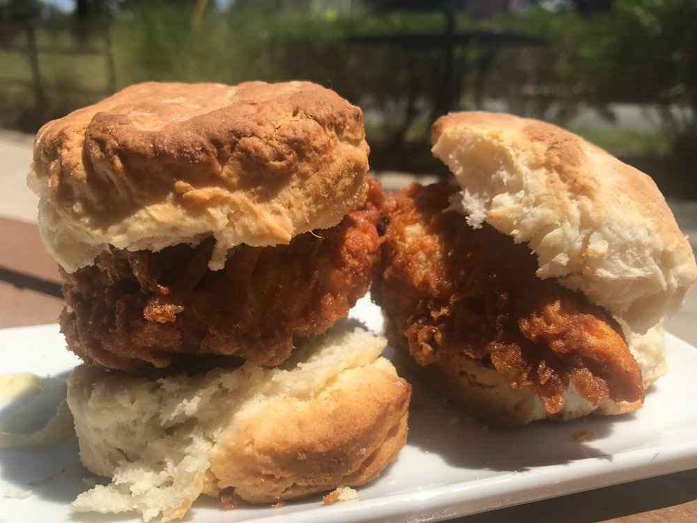 chicken biscuit - LS biscuits, crispy fried chicken, house pickles, garlic aioliThis is a classic, and I would imagine it's among their most popular menu items. Not terribly offensive, but the biscuits are often dry.