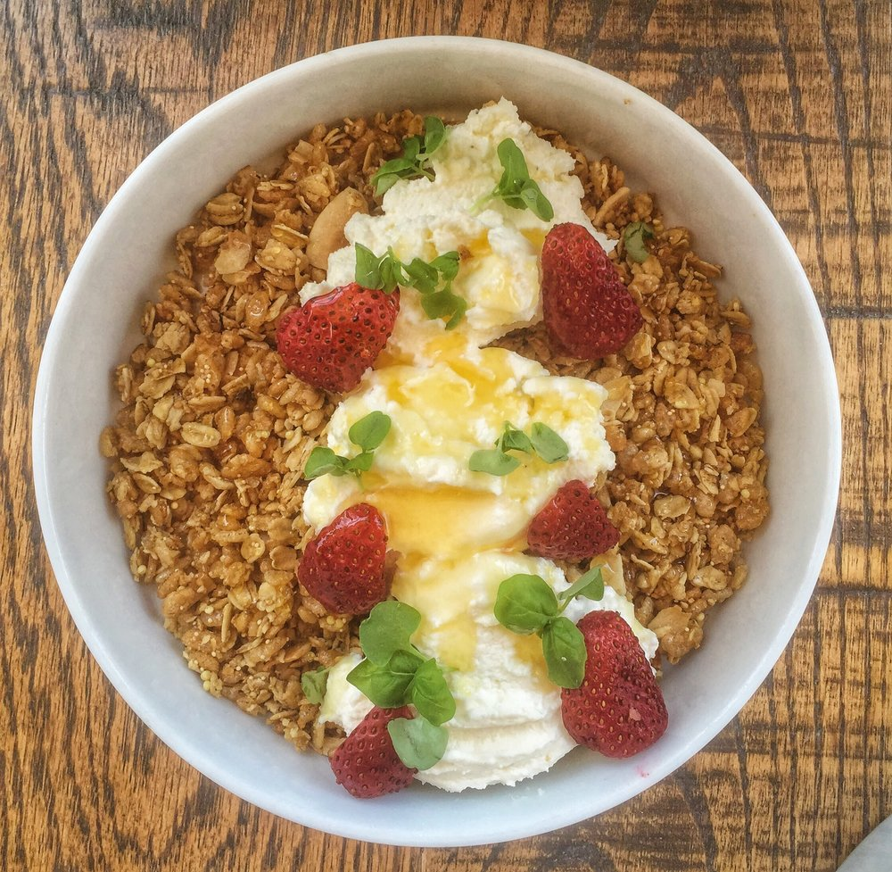 Granola - Yogurt, honey, strawberriesNothing to not like about this classic combo. A special from May 2016.