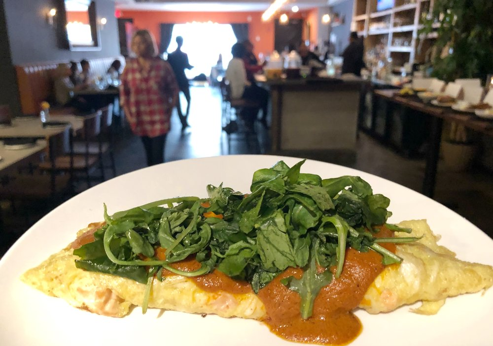Loft Omelette - Salmon, crab, arugula, goat cheese, romescoLove the bang for your buck you get with the seafood. The eggs could have used a bit more seasoning, however.