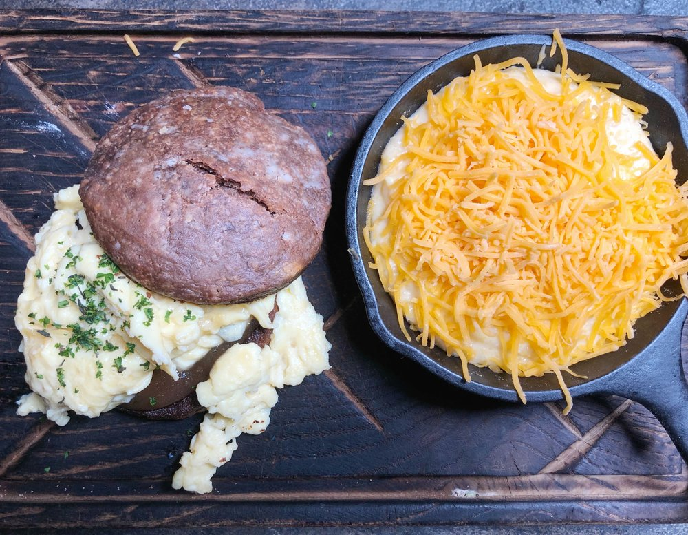 Go-To - Cocoa biscuits, scrambled eggs, cheddar cheese grits, apple butterWe didn't try this one, but cocoa biscuits sound and look amazing. We are definitely going back to try these.