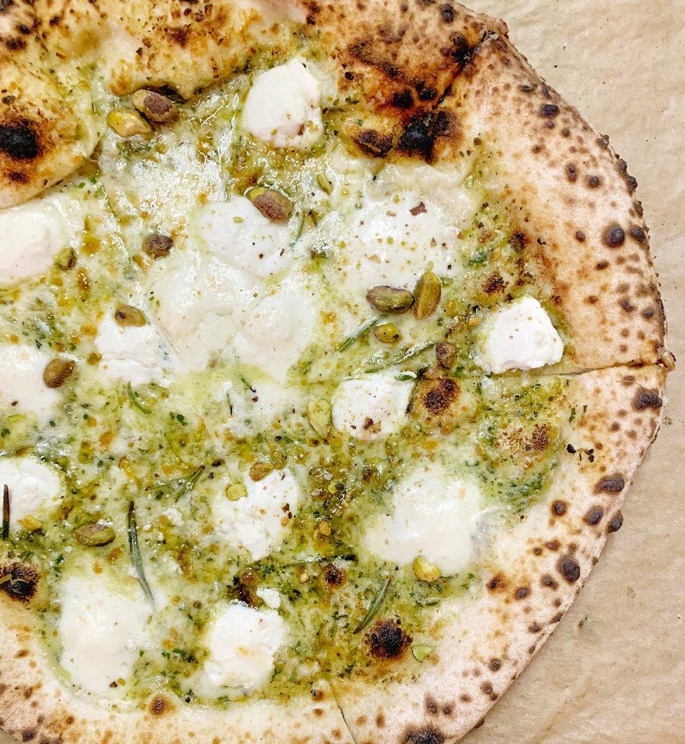 PISTACCHIO - Rosemary, sea salt, ricotta, Buffalo Mozzarella, garlic, pistachio pesto sauce, pistachios