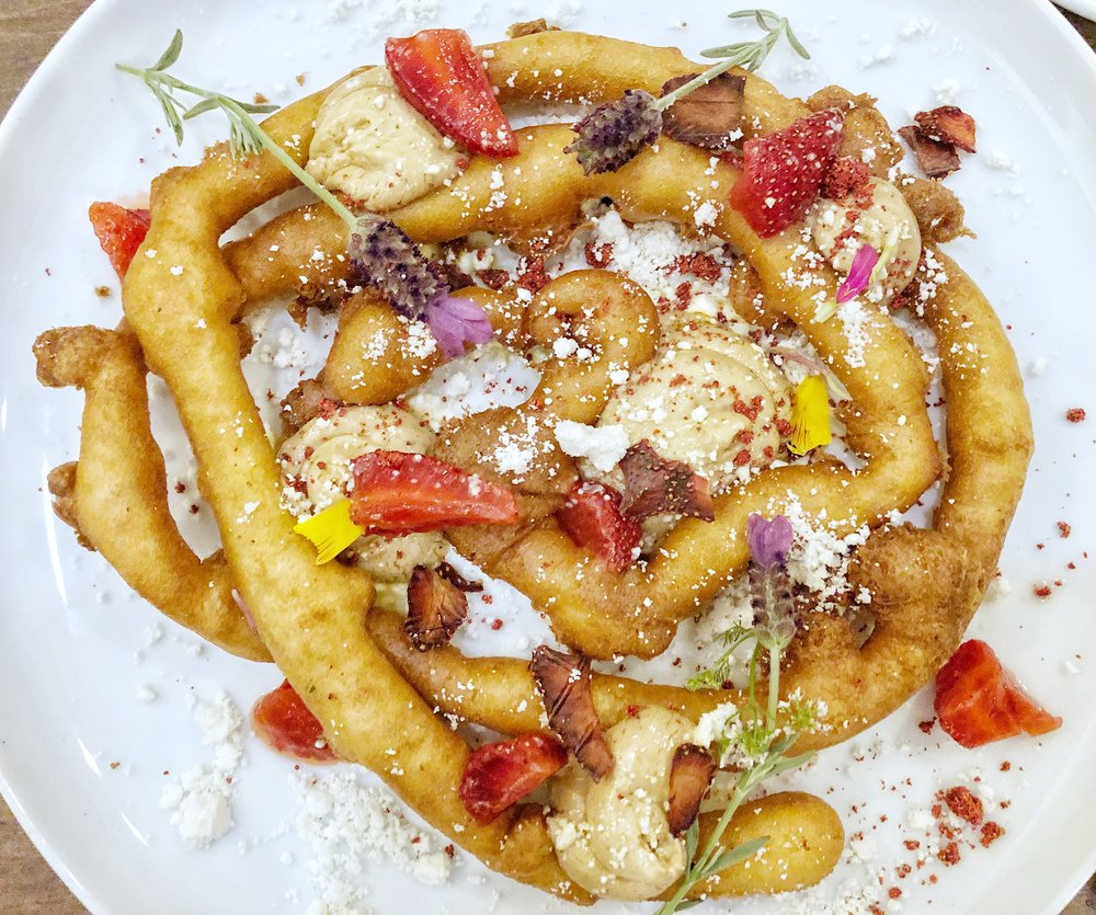 Foie Gras Funnel Cake - WIth strawberries a few waysThis was the dish that first got us in the door back in May. You had us at foie gras. Very tasty, and obviously very fun to look at and eat!Also, someone commented on our Instagram that we shouldn't be eating foie gras and that we were inhumane. We'll tell you what's inhumane: passing up foie gras when you have the chance to eat it. Especially in a funnel cake. Good day.