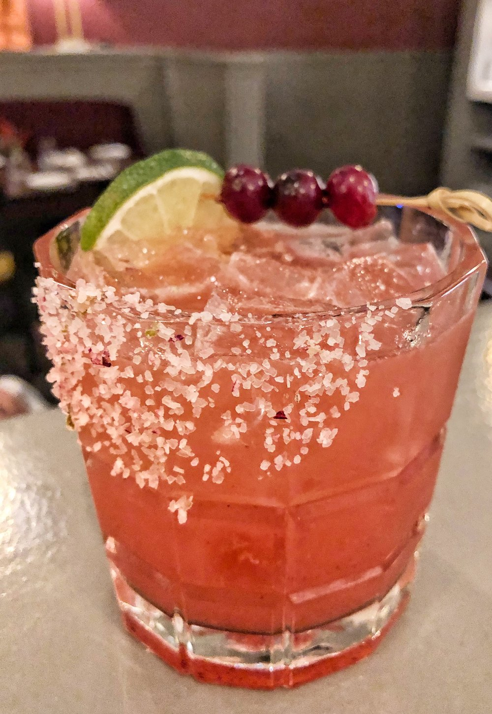 Queen City Duchess - Casamigos Reposado, cranberry cordial, Cocchi Americano Apertif, limeI could have had four of these, and the one I did have went down in five minutes flat. Casamigos tequila is the greatest thing George Clooney ever put his beautiful hands on. Also, can I be the Queen City Duchess? Please?