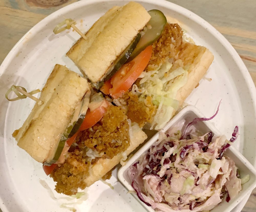 Fried Shrimp Po Boy - With cole slawThis was my dad's order when he was in town visiting us. I didn't taste it, but I can tell you that when I picked it up to take a picture, a piece of shrimp fell out. And I never told him that. So, if you're reading now: Sorry, dad.