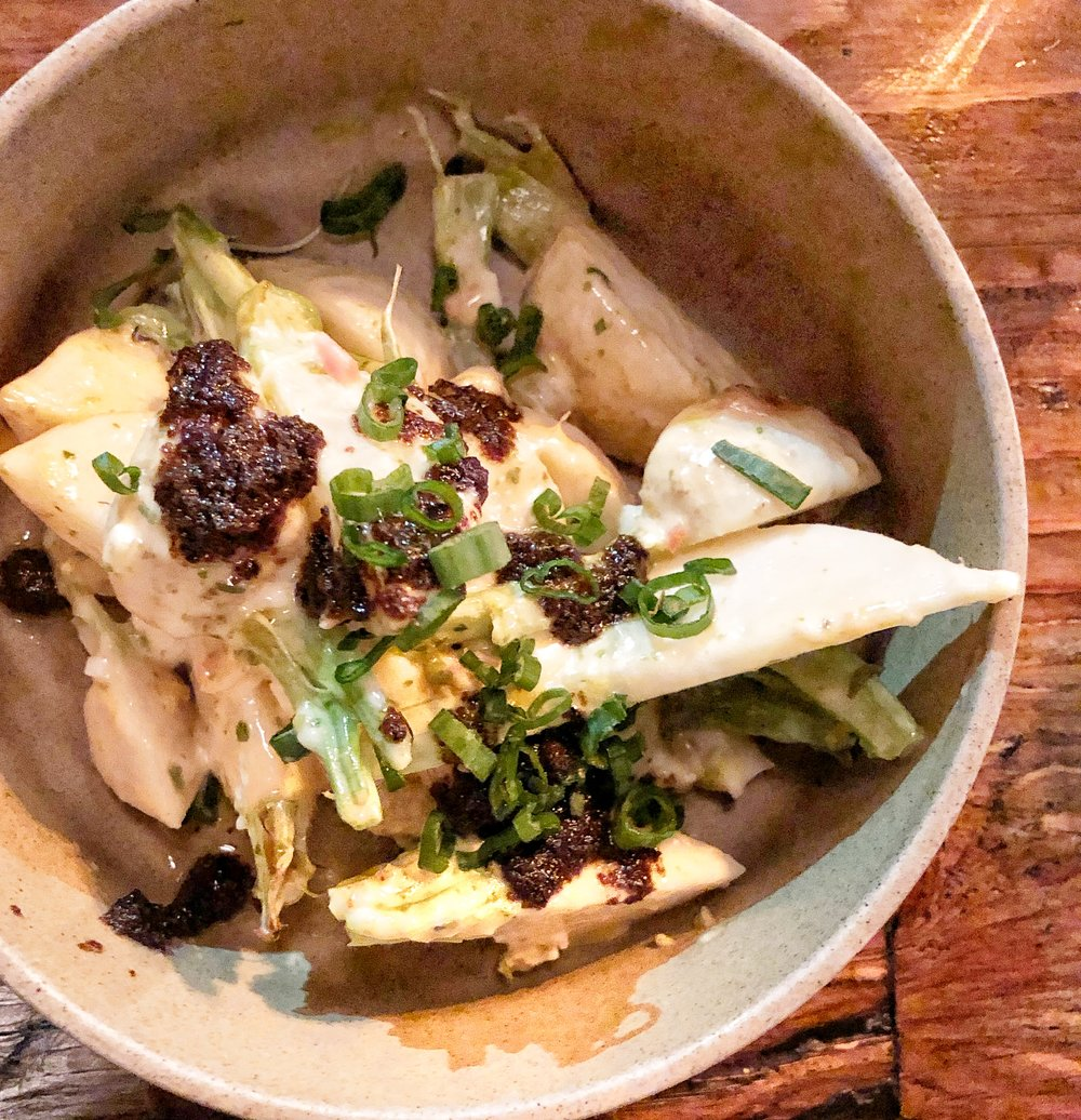Turnips - Black garlic bagna cotta sauce gribicheThe waitress described this dish as turnip forward, and it we would like to throw in turnip empowered as well. A good turnip is one of our favorite vegetables, and combined with the black garlic, this one was a winner. Gribiche is a French sauce made with egg yolks, oil, and mustard.