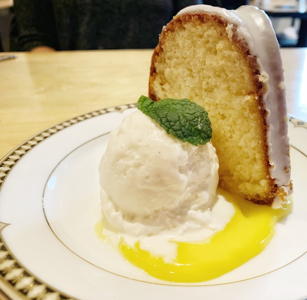 Grandma's Pound Cake - With vanilla bourbon and lemon curdThis cake was very well done, though lemon isn't my favorite. I would love to try some of Jordan's other desserts.