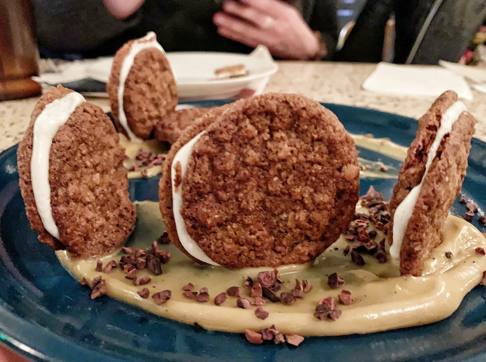 Toasted Oatmeal SAndwich Cookies - With butterscotch curd, cardamom mallow cream filling, & cacao nibsI liked these better than the chess pie, but still – far too sweet.