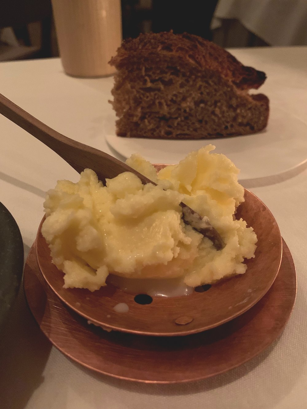Bread and Butter - Our server brought the bread and butter to the table, finished churning the butter, and then plopped it onto the plate with a healthy pour of buttermilk, and said, go at it, young people. Go at it, we did. Is there anything better than freshly churned butter from Blue Hill? I don't know if there is. Combine that with the Barber Wheat and you've got a great bread course. At this point in the meal, we are so full we could barely eat another bite, but we eventually finished it all because we aren't quitters. Especially not when it comes to bread.