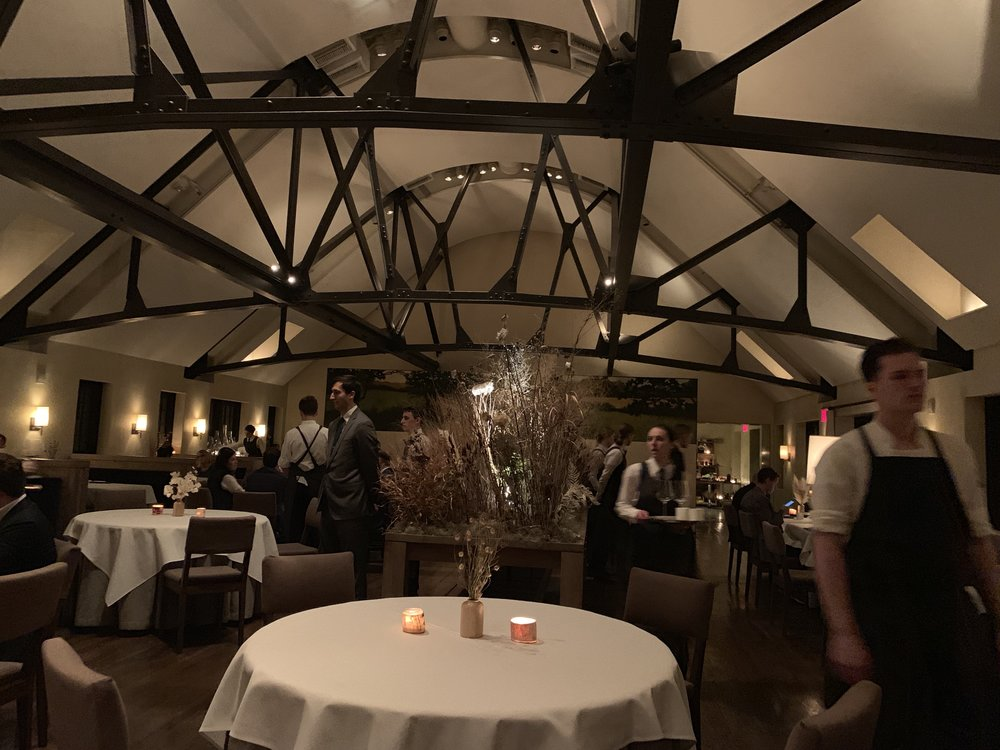 The dining room, where the decor changes by the season.