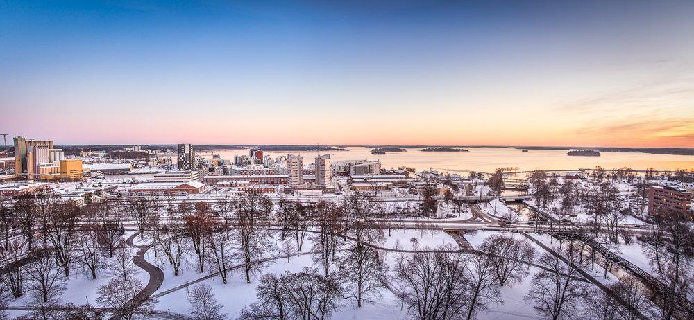 Panoramic view of Västerås in winter