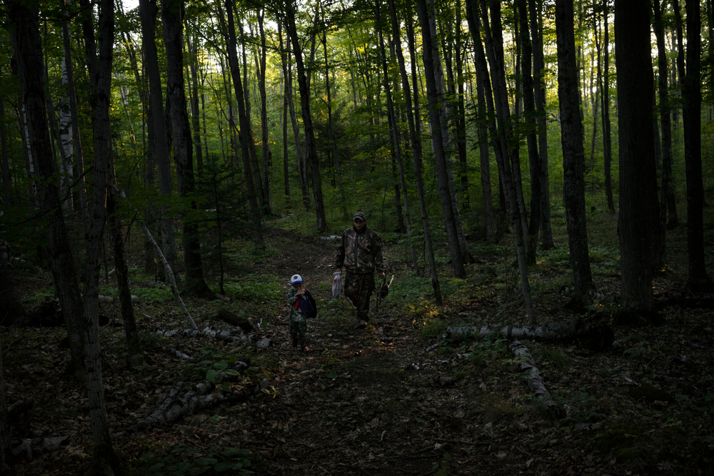 Eric Weborg and his son Andrew on the first day of bow deer hunting season.