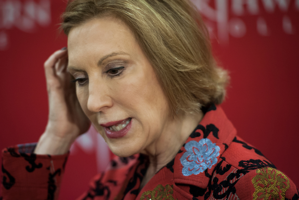 Republican presidential candidate Carly Fiorina answers questions from the media ahead her speech at the Northwest Iowa Republican rally at Northwestern College in Orange City, Iowa.
