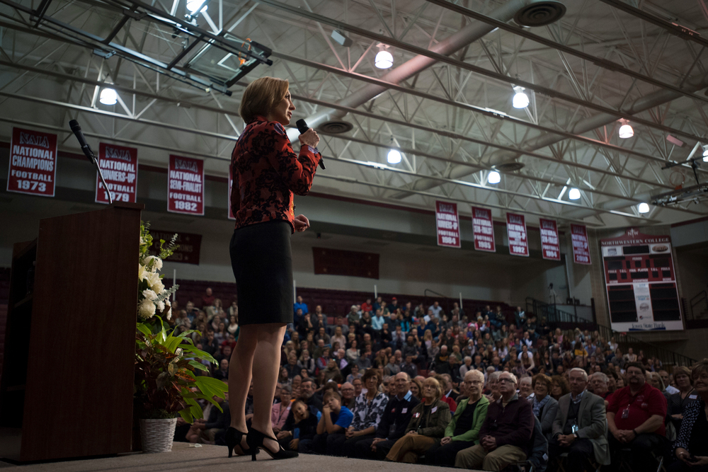 Republican presidential candidate Carly Fiorina speaks at the Northwest Iowa Republican rally at Northwestern College in Orange City, Iowa