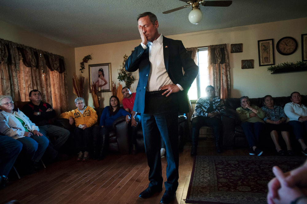 U.S. Democratic presidential candidate Maryland Governor Martin O'Malley makes a campaign stop in Wapello, IA at the Chavarria family home November 7, 2015. The Chavarrias are a family of immigrants and their kids who have been in the United States for decades.