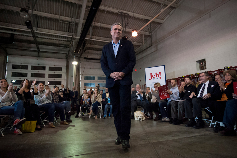 U.S. Republican presidential candidate Jeb Bush hosts a town hall at the Waukee Fire Department in Waukee, IA November 11, 2015.