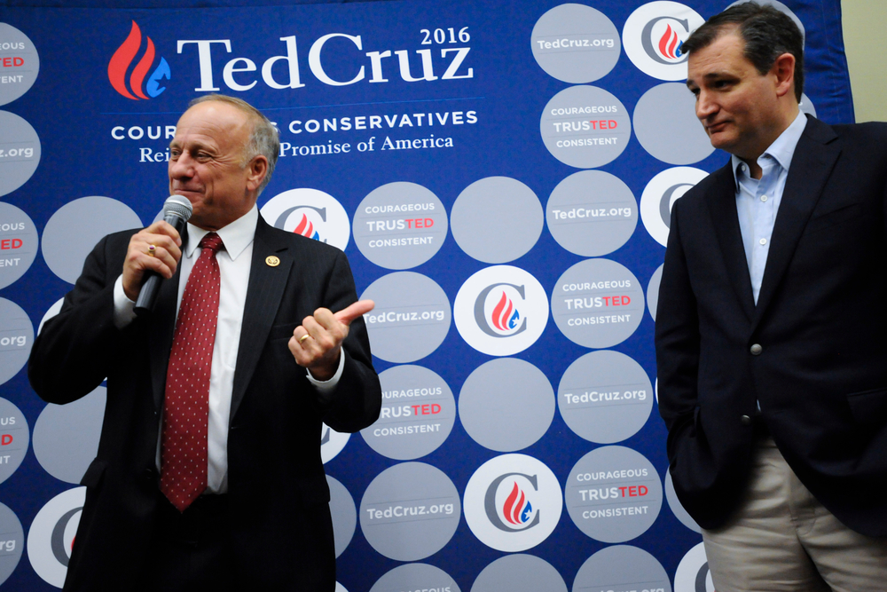Iowa Congressman Steve King (L) introduces Republican U.S. presidential candidate Ted Cruz at an event after the Presidential Family Forum in Des Moines, Iowa November 20, 2015. REUTERS/Mark Kauzlarich