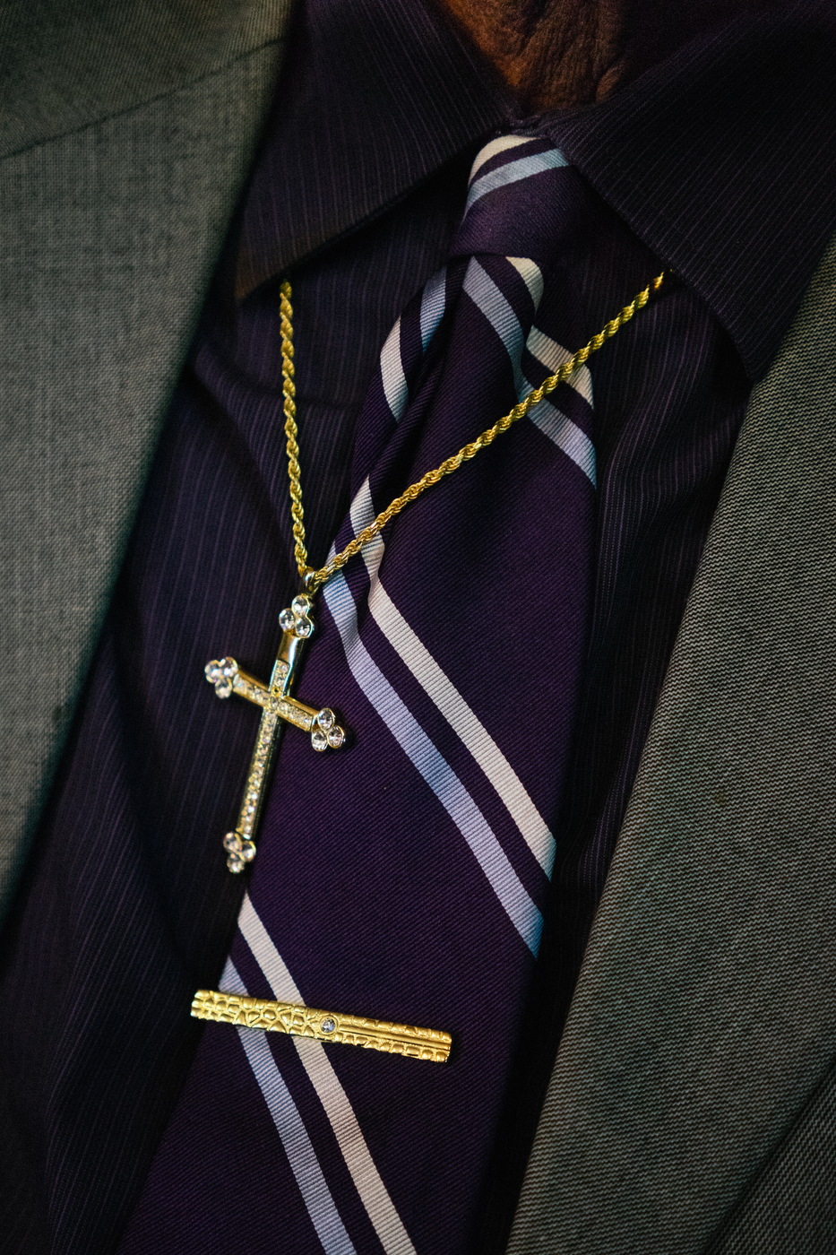 The necktie and jewelry of a visiting pastor at one of the many baptist churches in Ferguson.