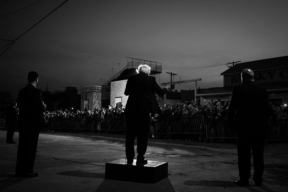 Democratic presidential candidate Bernie Sanders speaks to the overflow crowd at a campaign rally in Milwaukee, Wisconsin on March 29, 2016.