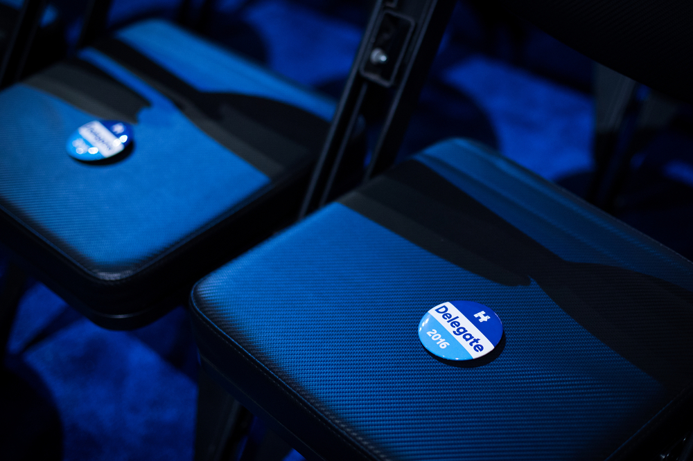 Buttons supporting Democratic U.S. presidential candidate Hillary Clinton sit on chairs for delegates at the Democratic National Convention Philadelphia, PA.