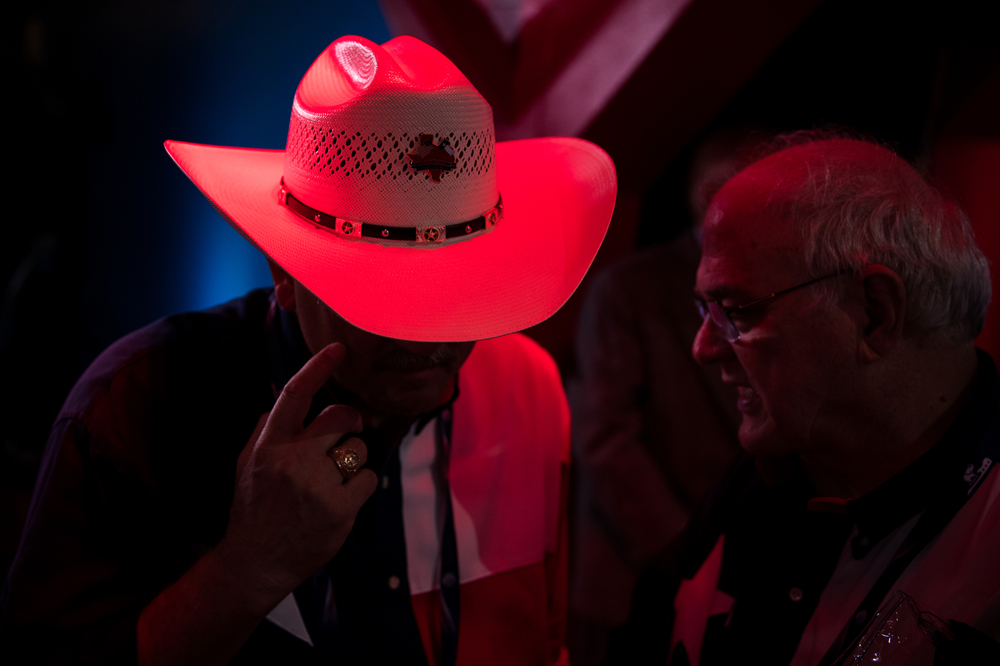 Texas delegates converse at the Republican National Convention in Cleveland, OH.