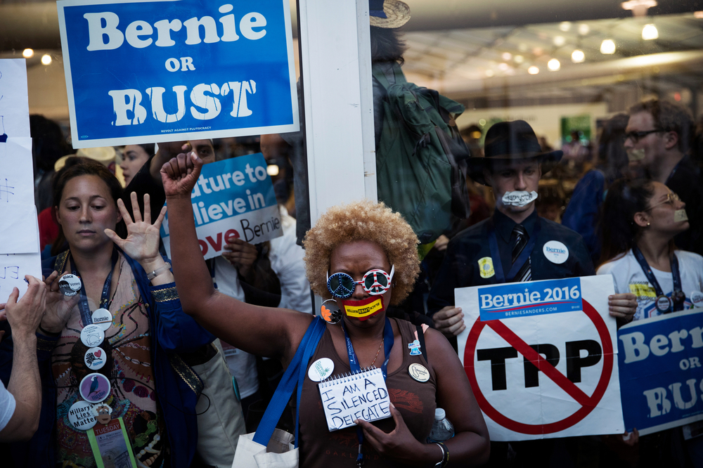 Delegates for former Democratic U.S. presidential candidate and Senator Bernie Sanders protest, occupying the media tents and requiring police response inside the security cordon of the Democratic National Convention.