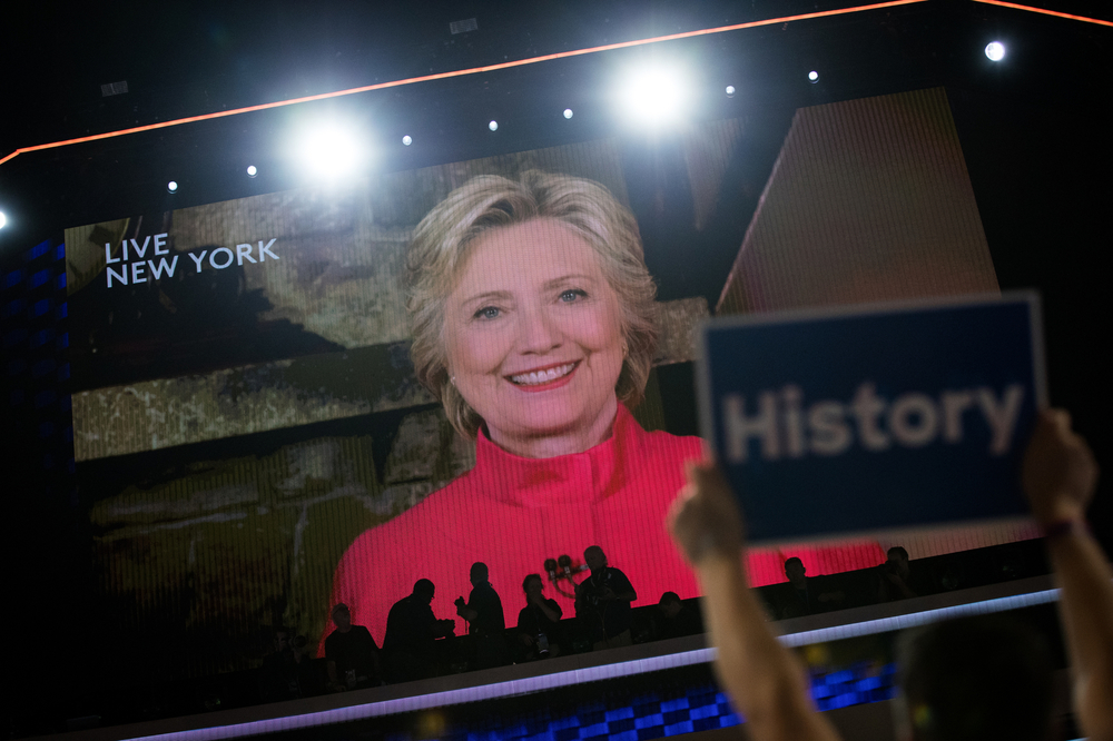 Democratic U.S. presidential nominee Hillary Clinton is seen, remotely, on the screen after being nominated at the Democratic National Convention in Philadelphia, PA.