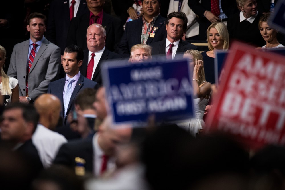 Republican U.S. presidential nominee Donald Trump and his family stand in a private box during the Republican National Convention in Cleveland, OH.