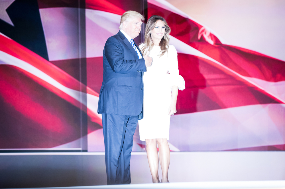 Republican Presidential Nominee Donald Trump and his wife Melania Trump stand on stage after Melania's speech at the Republican National Convention in Cleveland, OH