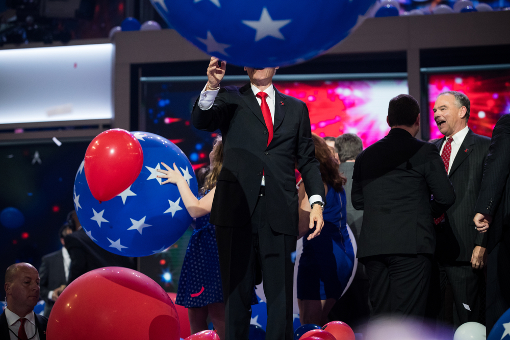 Former U.S. President Bill Clinton plays with balloons on the last night of the Democratic National Convention in Philadelphia, PA.