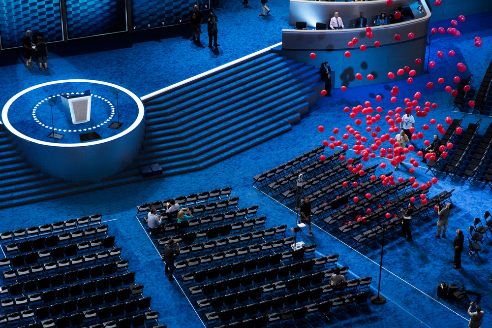 Balloons fall, unplanned, from the rafters the day before the start of Democratic National Convention in Philadelphia, PA.