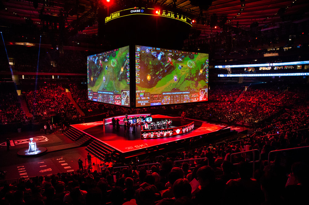 A sold-out crowd watches the first semifinal matchup for the League of Legends World Championship between the ROX Tigers and SK Telecom T1, a repeat of the 2015 finals match.